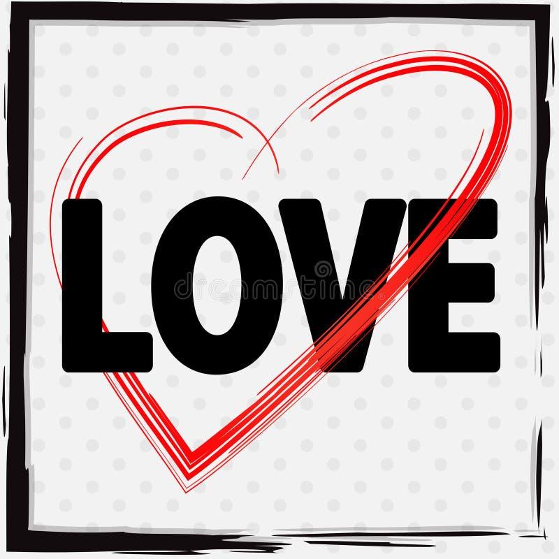 Σχέδιο πηγών για την αγάπη με την κόκκινη καρδιά απεικόνιση αποθεμάτων