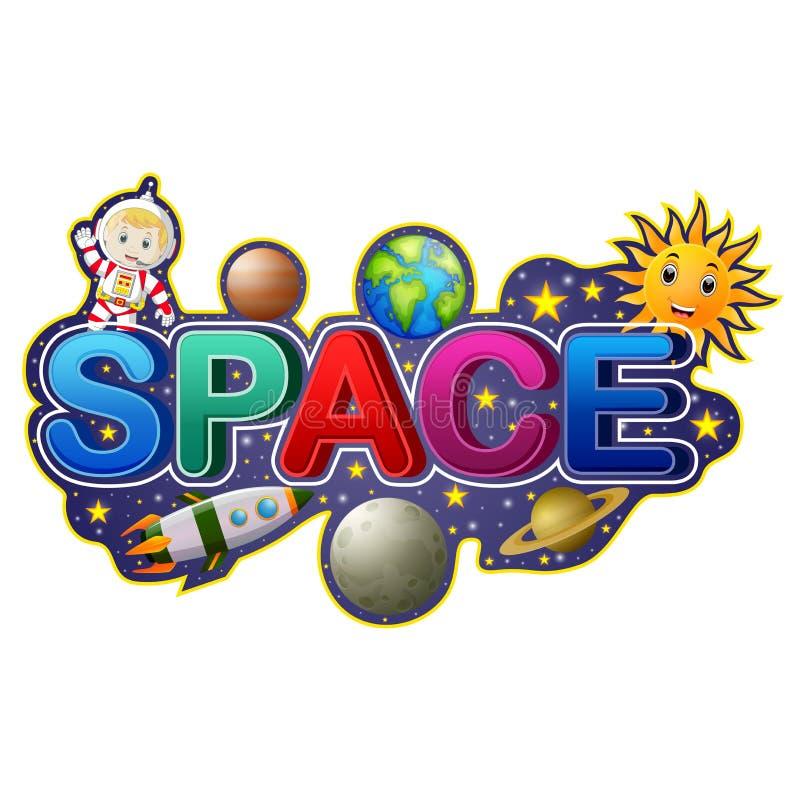 Σχέδιο πηγών για το διάστημα λέξης με τον αστροναύτη διανυσματική απεικόνιση
