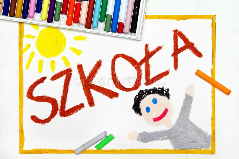 Σχέδιο Πολωνικό ΣΧΟΛΕΙΟ λέξης και ευτυχής σπουδαστής διανυσματική απεικόνιση