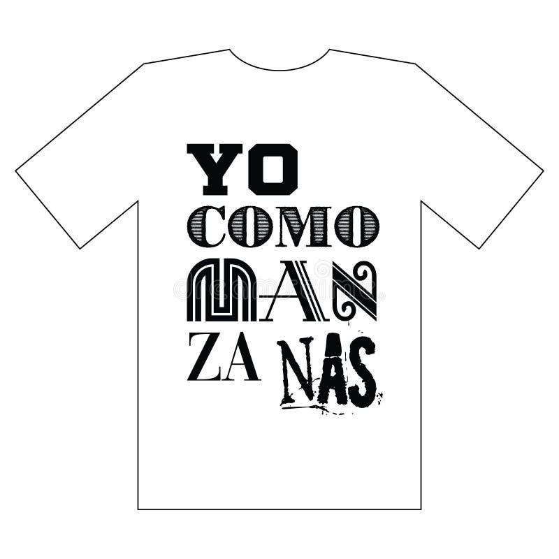 Σχέδιο πουκάμισων γραμμάτων Τ Ισπανική γραφική παράσταση τυπογραφίας για το πουκάμισο γραμμάτων Τ με το σύνθημα διανυσματική απεικόνιση