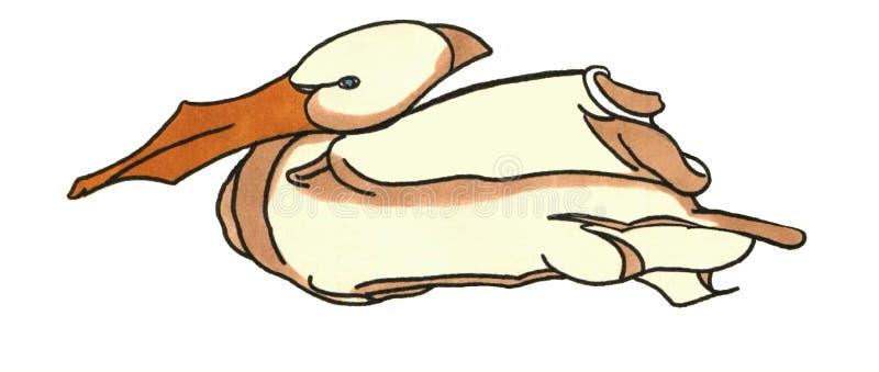 Σχέδιο πουλιών ενός πελεκάνου που ξαπλώνει, να επιπλεύσει απεικόνιση αποθεμάτων