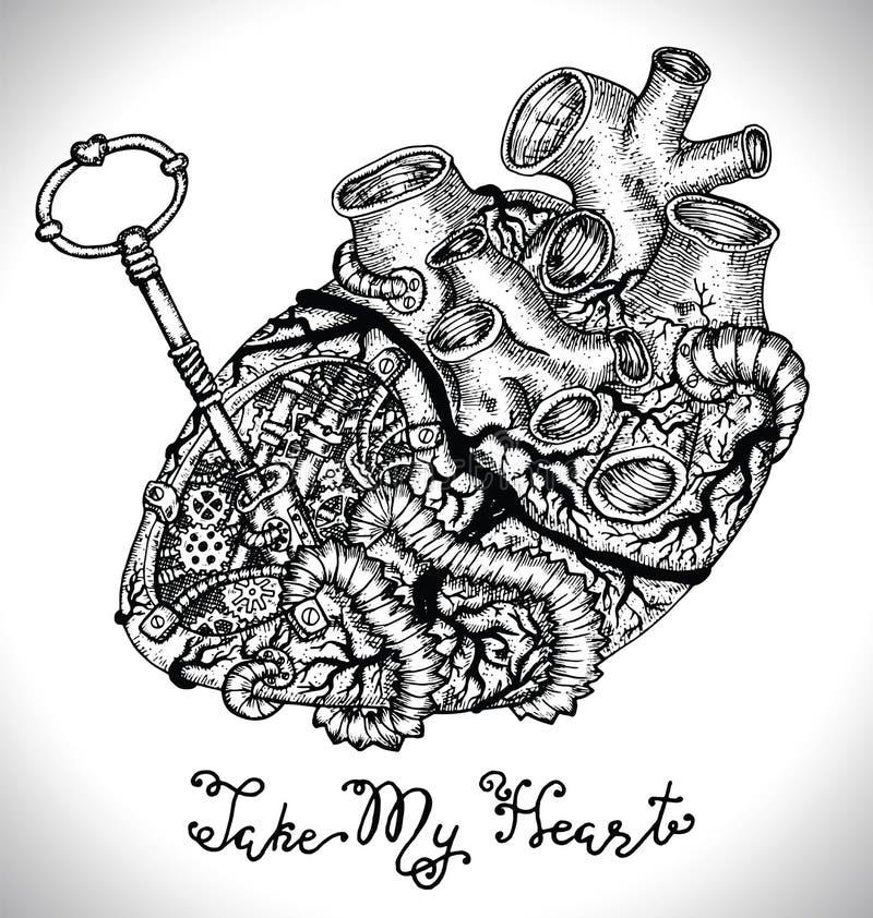 Σχέδιο που τίθεται με την ανθρώπινη καρδιά με τα μηχανικά μέρη, βασικά διανυσματική απεικόνιση