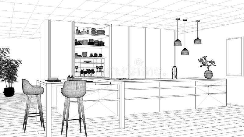 Σχέδιο προγράμματος σχεδιαγραμμάτων, μινιμαλιστική κουζίνα, νησί, πίνακας, σκαμνιά και ανοικτό γραφείο με τα εξαρτήματα, παράθυρο ελεύθερη απεικόνιση δικαιώματος