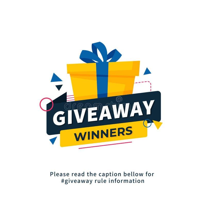 Σχέδιο προτύπων αφισών νικητών Giveaway για την κοινωνικό θέση μέσων ή το έμβλημα ιστοχώρου Διανυσματική απεικόνιση κιβωτίων δώρω απεικόνιση αποθεμάτων