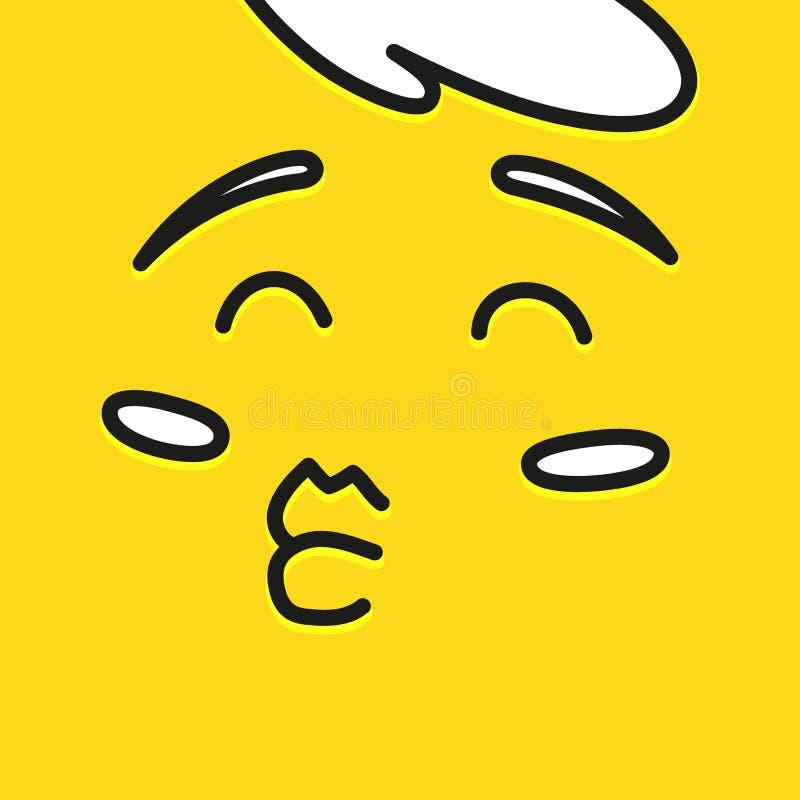 Σχέδιο προτύπων εικονιδίων χαμόγελου Ευτυχές διανυσματικό λογότυπο χαμόγελου emoticon στο κίτρινο υπόβαθρο Ύφος τέχνης γραμμών πρ διανυσματική απεικόνιση