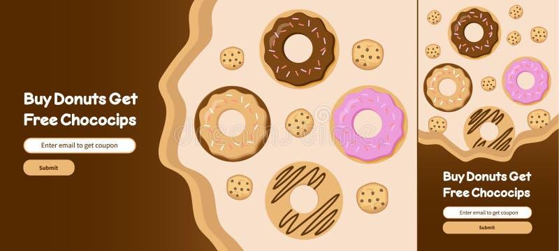 Σχέδιο προτύπων εμβλημάτων Ιστού τσιπ Donuts και Choco απεικόνιση αποθεμάτων
