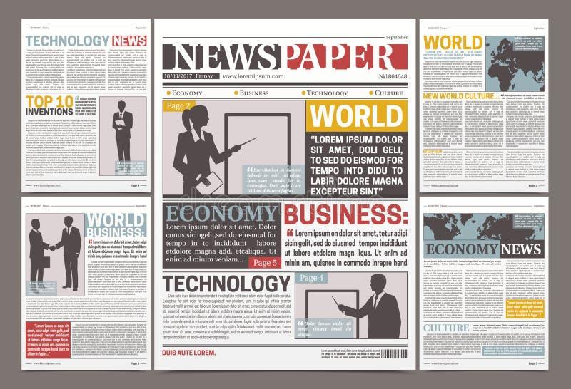 Σχέδιο προτύπων εφημερίδων διανυσματική απεικόνιση
