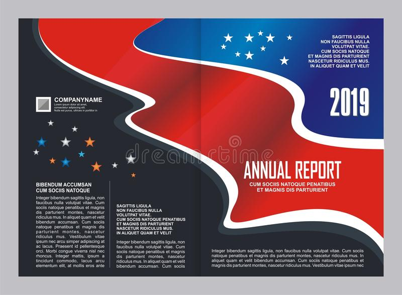 Σχέδιο προτύπων κάλυψης ετήσια εκθέσεων ελεύθερη απεικόνιση δικαιώματος