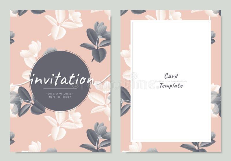 Σχέδιο προτύπων καρτών πρόσκλησης, εκλεκτής ποιότητας γραπτό λουλούδι κόσμου με τα φύλλα Ficus Elastica στο ροζ ελεύθερη απεικόνιση δικαιώματος