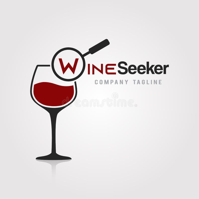 Σχέδιο προτύπων λογότυπων αναζητητών κρασιού Ένα γυαλί του withmagnifying εικονιδίου γυαλιού κρασιού στην άσπρη διανυσματική απει διανυσματική απεικόνιση