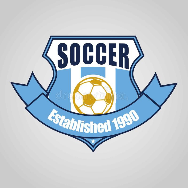 Σχέδιο προτύπων λογότυπων διακριτικών ποδοσφαίρου ποδοσφαίρου, ομάδα ποδοσφαίρου, διάνυσμα Αθλητισμός, εικονίδιο διανυσματική απεικόνιση