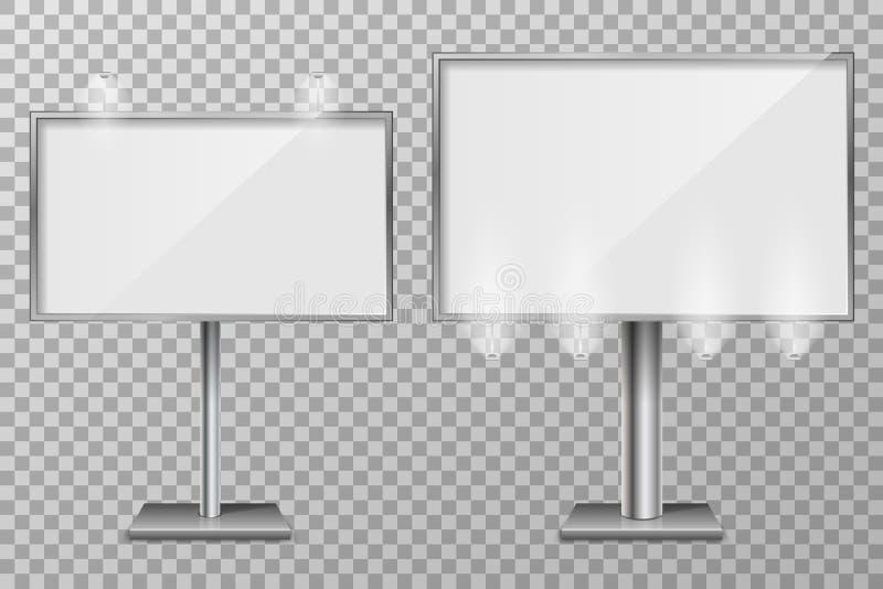 Σχέδιο προτύπων πινάκων διαφημίσεων για την υπαίθρια διαφήμιση και σχέδιο τρισδιάστατοι λιανικοί πίνακες διαφημίσεων φωτισμού Επι ελεύθερη απεικόνιση δικαιώματος