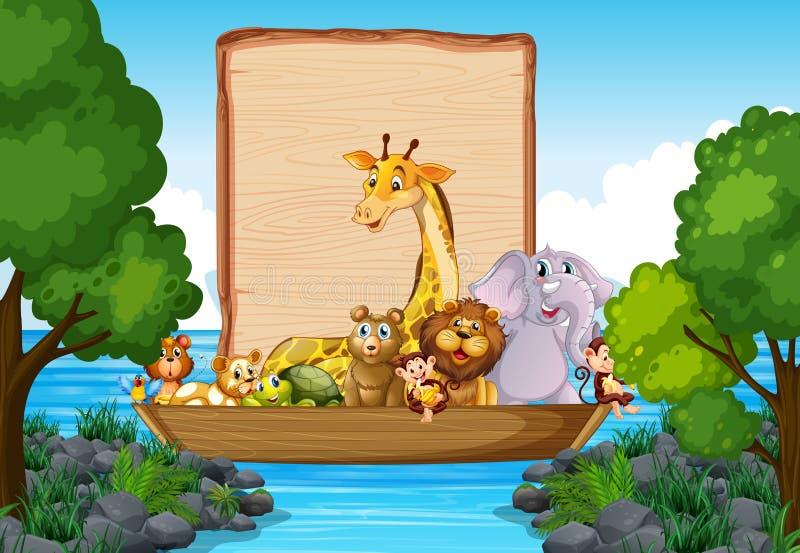 Σχέδιο προτύπων συνόρων με τα χαριτωμένα ζώα στη βάρκα ελεύθερη απεικόνιση δικαιώματος