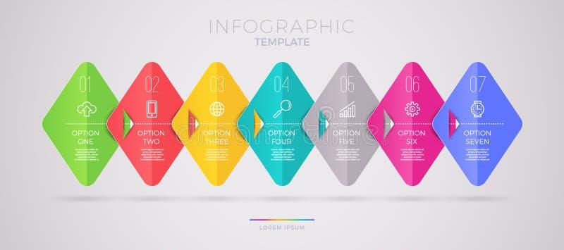 Σχέδιο προτύπων Infographic με τα επιχειρησιακά εικονίδια Διάγραμμα ροής witn επτά επιλογές ή βήματα Επιχειρησιακή έννοια Infogra διανυσματική απεικόνιση