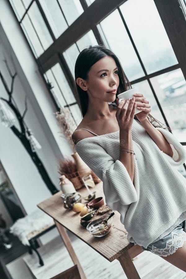 Σχέδιο πρωινού Ελκυστική νέα γυναίκα που κρατά ένα φλυτζάνι και στοκ φωτογραφίες με δικαίωμα ελεύθερης χρήσης
