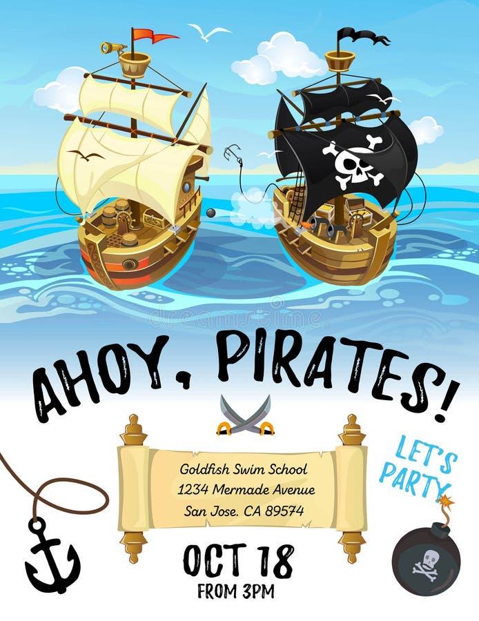 Σχέδιο πρόσκλησης κινούμενων σχεδίων κομμάτων πειρατών με το σκάφος και τη θάλασσα πειρατών ελεύθερη απεικόνιση δικαιώματος