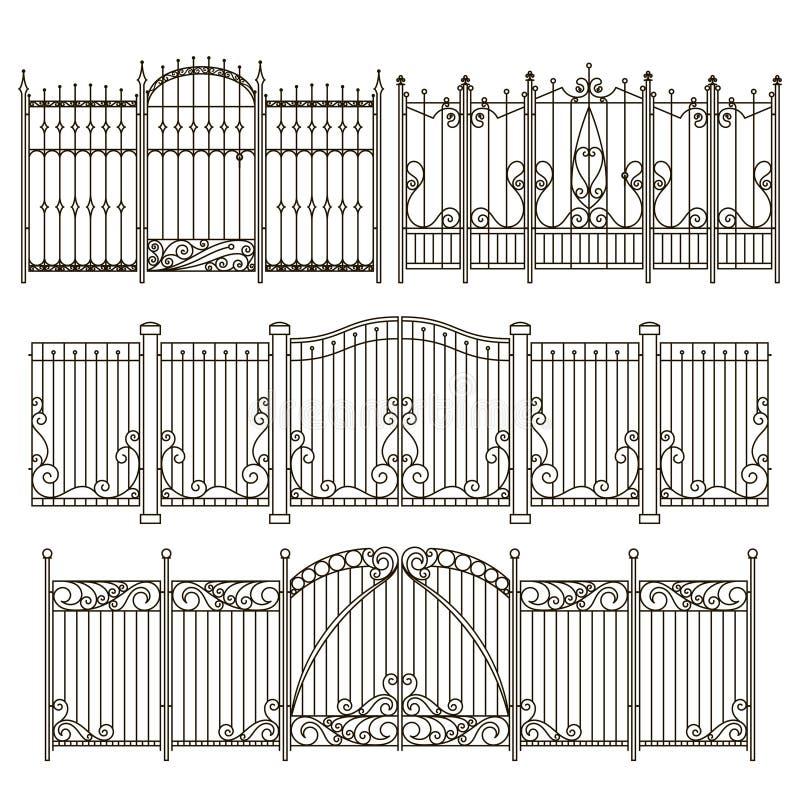 Σχέδιο πυλών και φρακτών σιδήρου με τα διαφορετικά διακοσμητικά στοιχεία μεταφορτώστε το έτοιμο διάνυσμα εικόνας απεικονίσεων διανυσματική απεικόνιση
