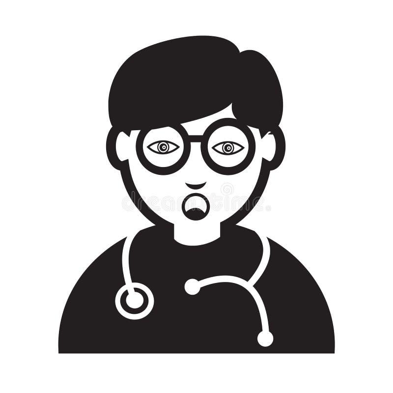 Σχέδιο σημαδιών απεικόνισης εικονιδίων συγκίνησης προσώπου γιατρών ελεύθερη απεικόνιση δικαιώματος