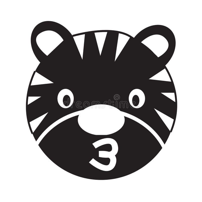 Σχέδιο σημαδιών απεικόνισης εικονιδίων συγκίνησης προσώπου τιγρών ελεύθερη απεικόνιση δικαιώματος