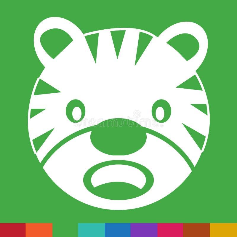 Σχέδιο σημαδιών απεικόνισης εικονιδίων συγκίνησης προσώπου τιγρών απεικόνιση αποθεμάτων