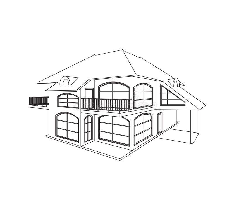 Σχέδιο σκίτσων ενός σύγχρονου ιδιωτικού σπιτιού με δύο πατώματα, διανυσματική απεικόνιση στο λευκό διανυσματική απεικόνιση