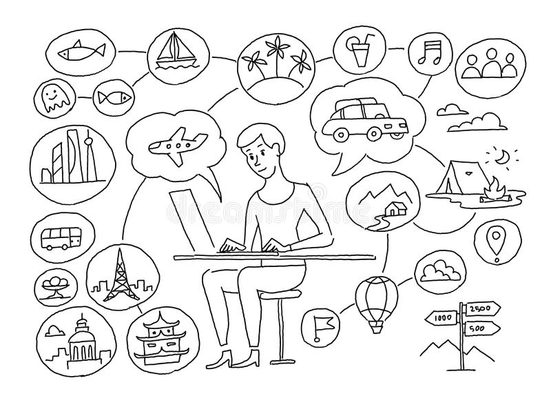 Σχέδιο σκίτσων Το κορίτσι προγραμματίζει το ταξίδι Ταξιδιωτικός πράκτορας Σκέψεις για το δρόμο, θέρετρο μεταφορών αεροπλάνων συρμ απεικόνιση αποθεμάτων