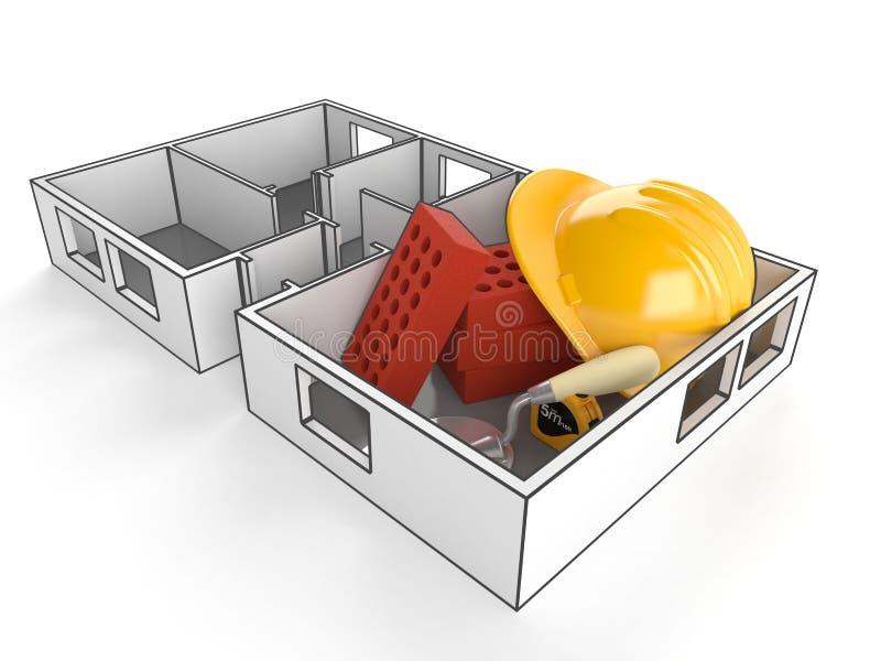 Σχέδιο σπιτιών με τα τούβλα και hardhat διανυσματική απεικόνιση