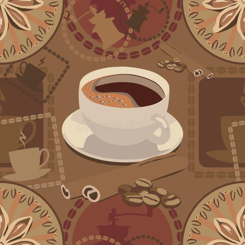 Σχέδιο στο θέμα καφέ και τα χρώματα καφέ ελεύθερη απεικόνιση δικαιώματος