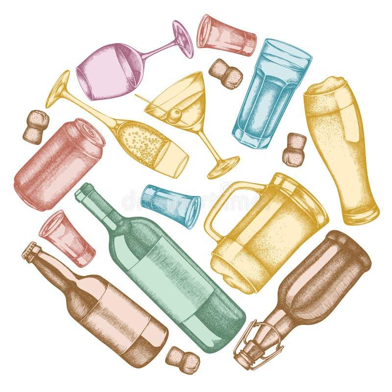 Σχέδιο στρογγυλού άνθους με παστέλ γυαλί, σαμπάνια, κούπα μπύρα, τοστ με οινόπνευμα, μπουκάλια μπύρας, μπουκάλι κρασί, ποτήρι ελεύθερη απεικόνιση δικαιώματος