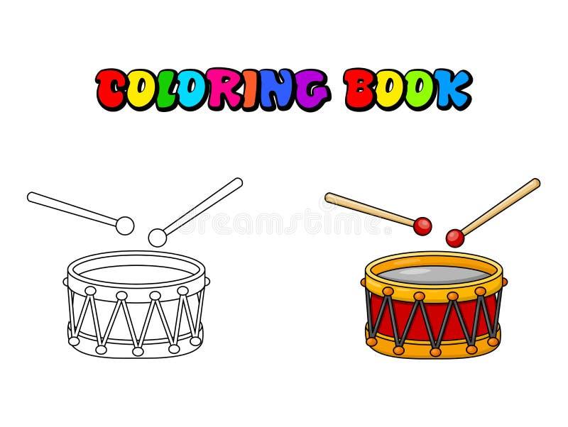 Σχέδιο συμβόλων εικονιδίων κινούμενων σχεδίων σελίδων χρωματισμού τυμπάνων που απομονώνεται στο άσπρο υπόβαθρο απεικόνιση αποθεμάτων