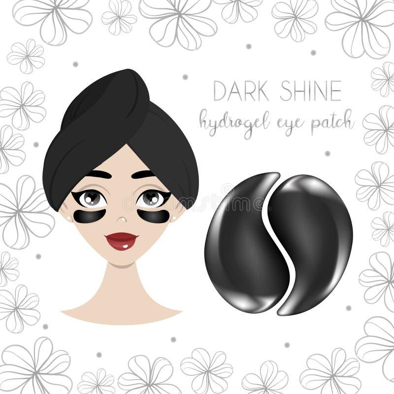 Σχέδιο συσκευασίας για το μαύρο hydrogel μπάλωμα ματιών με το όμορφο νέο κορίτσι ελεύθερη απεικόνιση δικαιώματος