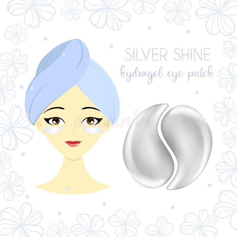 Σχέδιο συσκευασίας για το μπάλωμα ματιών silverhydrogel με το όμορφο νέο κορίτσι Επίπεδη απεικόνιση απεικόνιση αποθεμάτων