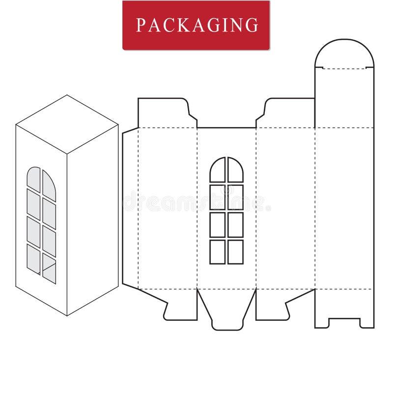 Σχέδιο συσκευασίας Διανυσματική απεικόνιση του κιβωτίου Πρότυπο συσκευασίας Απομονωμένη άσπρη λιανική χλεύη επάνω διανυσματική απεικόνιση
