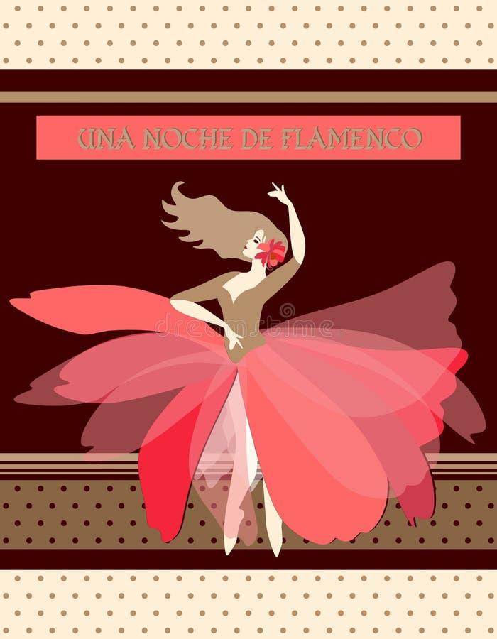 Σχέδιο συσκευασίας σοκολάτας Νύχτα Flamenco της ισπανικής έμπνευσης Χαριτωμένο ballerina με το κόκκινο λουλούδι στην ξανθή τρίχα απεικόνιση αποθεμάτων