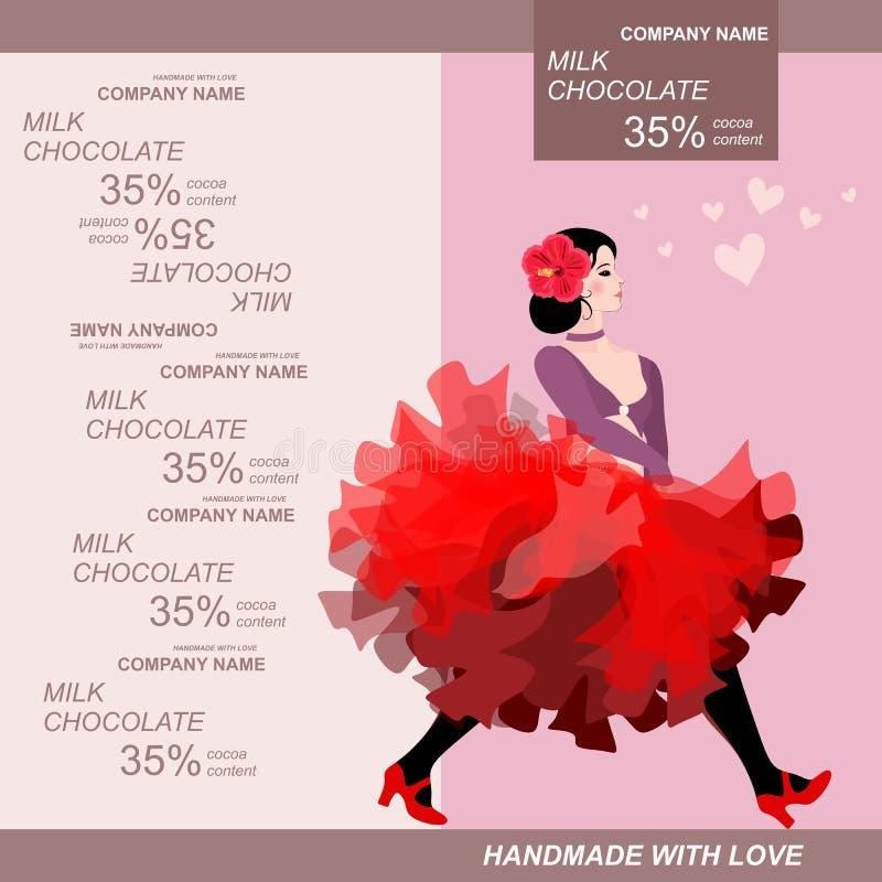 Σχέδιο συσκευασίας φραγμών σοκολάτας με το κορίτσι χορευτών κανκάν Εύκολο editable συσκευάζοντας πρότυπο ελεύθερη απεικόνιση δικαιώματος