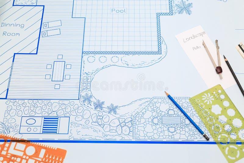 Σχέδιο σχεδίου κήπων κατωφλιών σχεδιαγραμμάτων για τη βίλα στοκ φωτογραφίες
