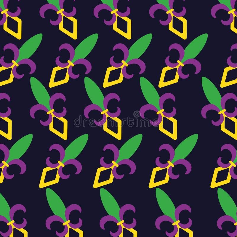 Σχέδιο σχεδίων έννοιας της Mardi gras fleur de lis απεικόνιση αποθεμάτων