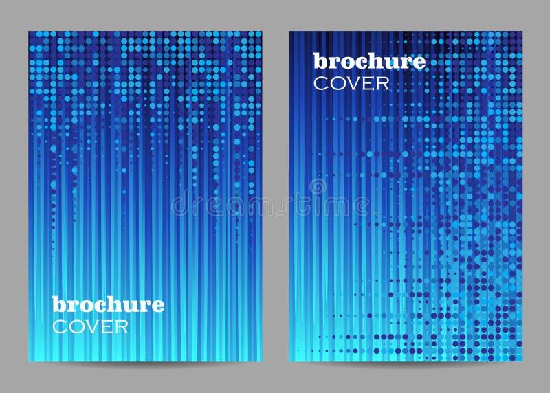 Σχέδιο σχεδιαγράμματος προτύπων φυλλάδιων Αφηρημένο μπλε διαστιγμένο σχέδιο στο ριγωτό υπόβαθρο ελεύθερη απεικόνιση δικαιώματος