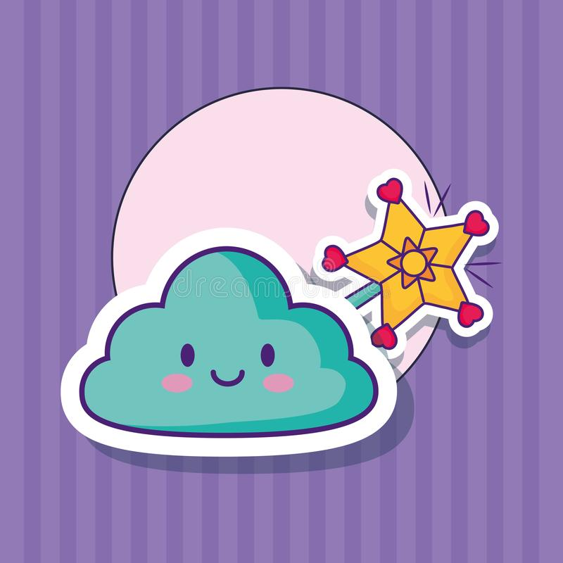Σχέδιο σύννεφων Kawaii διανυσματική απεικόνιση