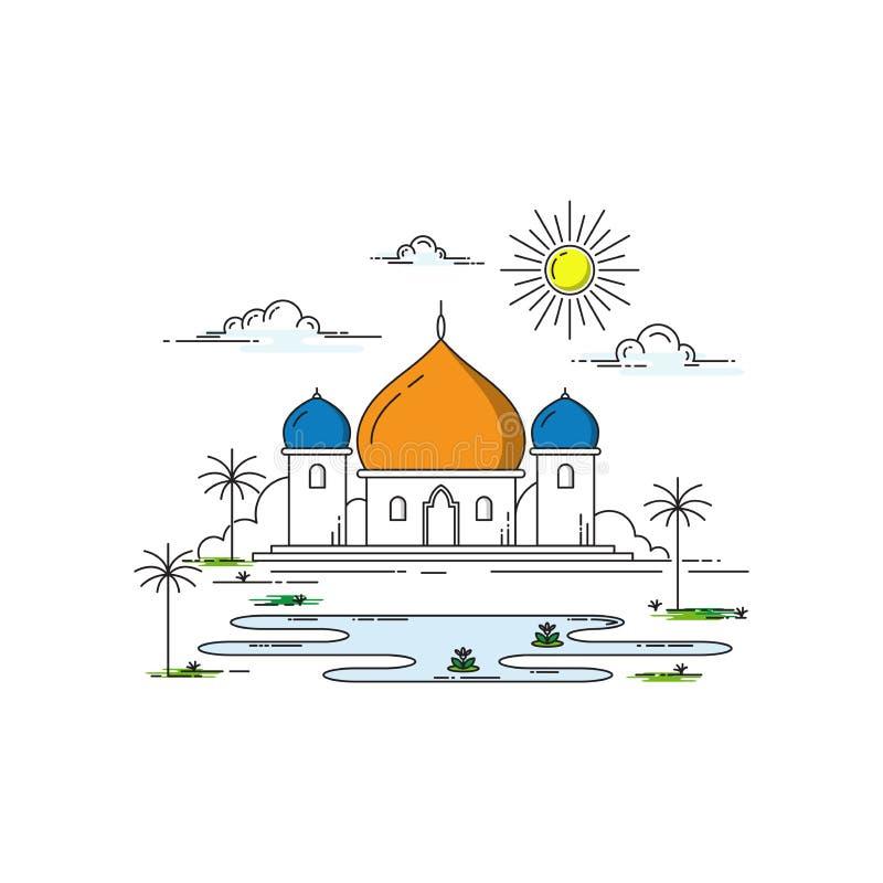 Σχέδιο τέχνης γραμμών μουσουλμανικών τεμενών απεικόνιση αποθεμάτων