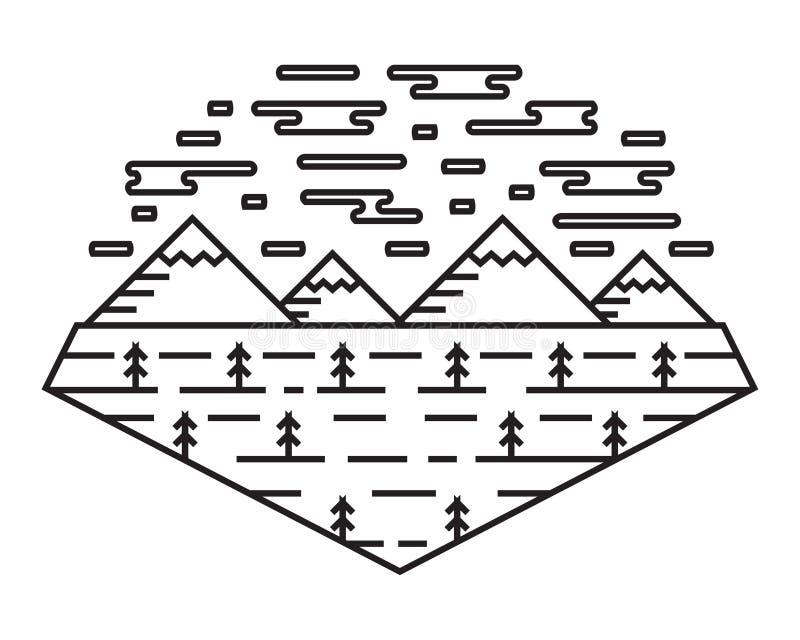 Σχέδιο τέχνης γραμμών πανοράματος Βουνά, ερυθρελάτες, και σύννεφα Τοπίο φύσης στο τολμηρό ύφος γραμμών απεικόνιση αποθεμάτων