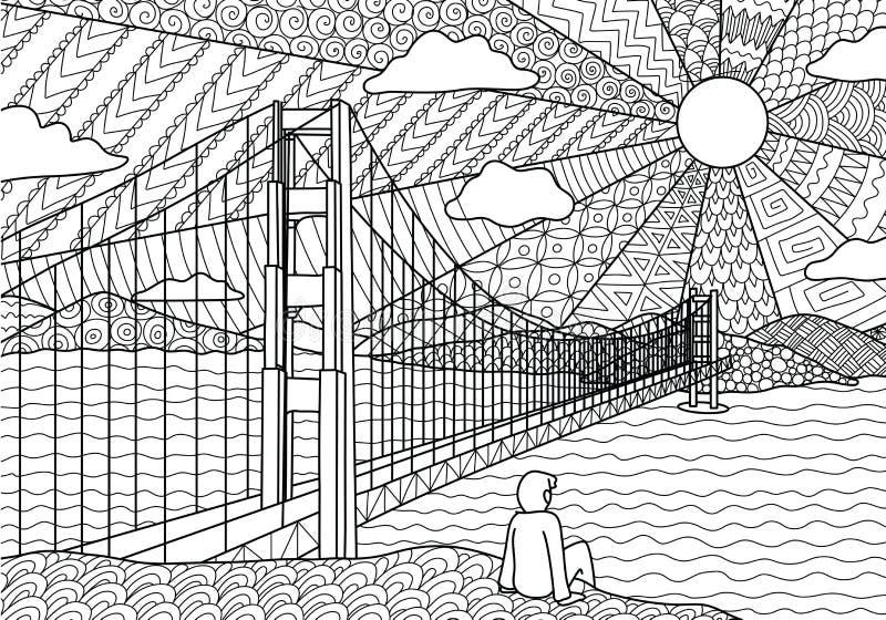 Σχέδιο τέχνης γραμμών του μακροχρόνιου σταυρού γεφυρών πέρα από τη θάλασσα για την απεικόνιση και τη χρωματίζοντας σελίδα βιβλίων ελεύθερη απεικόνιση δικαιώματος