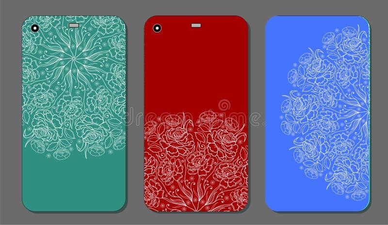 Σχέδιο τηλεφωνικής περίπτωσης Μοντέρνες floral διακοσμήσεις για την κινητή τηλεφωνική κάλυψη, floral mandala Κινητή τηλεφωνική πε διανυσματική απεικόνιση