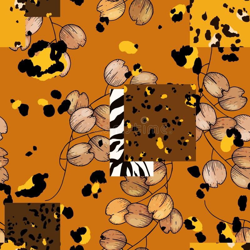 Σχέδιο της Αφρικής σαφάρι της λεοπάρδαλης και της τίγρης, ζέβες διάνυσμα Σύγχρονες ζωικές τυπωμένες ύλες δερμάτων και συρμένο χέρ ελεύθερη απεικόνιση δικαιώματος