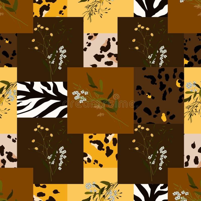 Σχέδιο της Αφρικής σαφάρι της λεοπάρδαλης και της τίγρης, ζέβες διάνυσμα Σύγχρονες ζωικές τυπωμένες ύλες δερμάτων και συρμένο χέρ διανυσματική απεικόνιση
