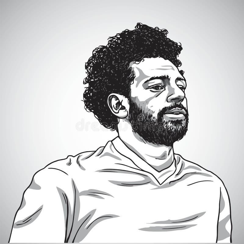 Σχέδιο της διανυσματικής απεικόνισης καρικατουρών κινούμενων σχεδίων πορτρέτου της Mo Salah 5 Ιουνίου 2018