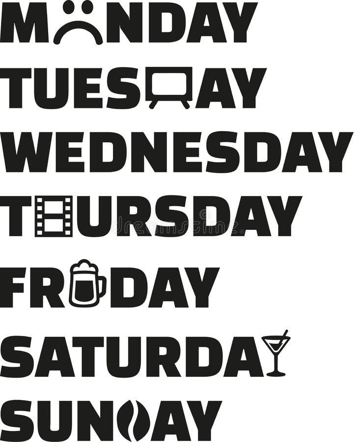 Σχέδιο της εβδομάδας workdays διανυσματική απεικόνιση