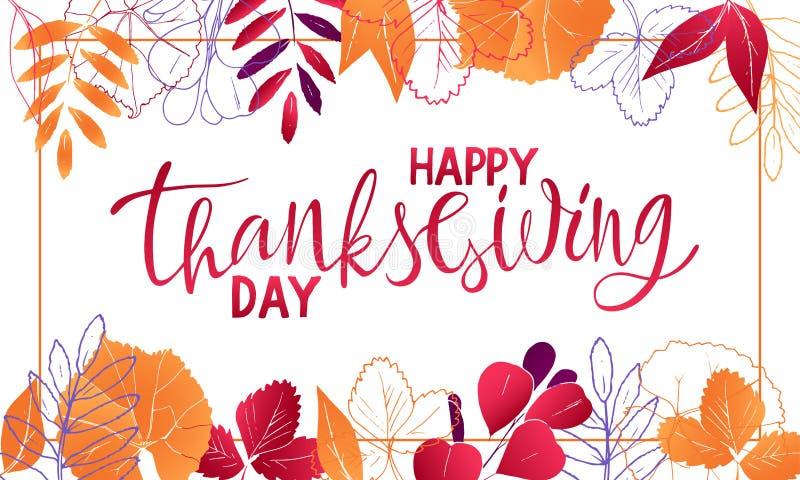 Σχέδιο της ευτυχούς εγγραφής ημέρας των ευχαριστιών εμβλημάτων με τα φύλλα διανυσματική απεικόνιση