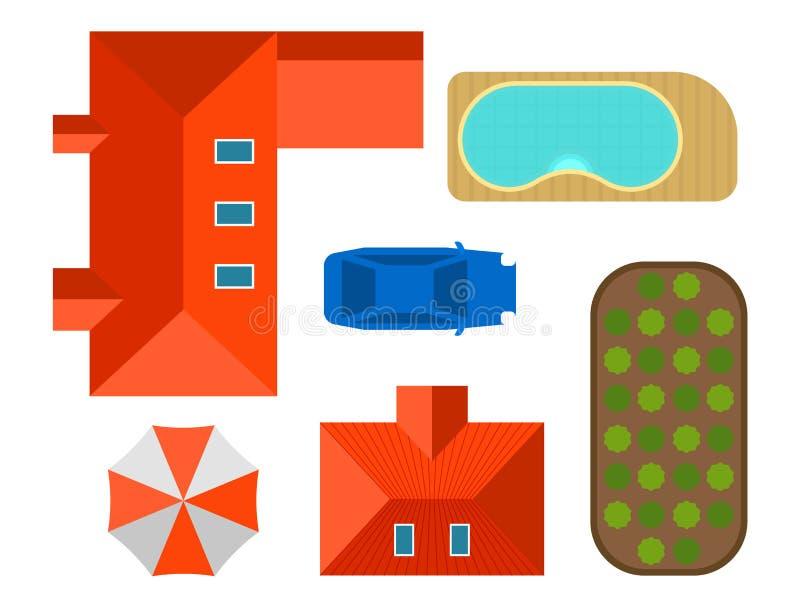 Σχέδιο της ιδιωτικής τοπ άποψης απεικόνισης σπιτιών διανυσματικής του υπαίθριου κτηρίου σχεδίου κατασκευαστών χαρτών βιλών εγχώρι ελεύθερη απεικόνιση δικαιώματος