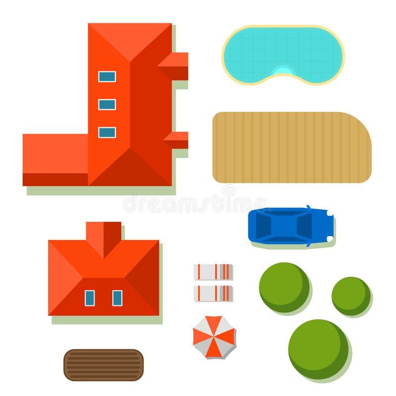 Σχέδιο της ιδιωτικής τοπ άποψης απεικόνισης σπιτιών διανυσματικής του υπαίθριου κτηρίου σχεδίου κατασκευαστών χαρτών βιλών εγχώρι διανυσματική απεικόνιση